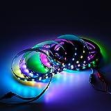 BTF-LIGHTING WS2812B 5m 60leds/pixels/m flexible individuellement adressable bande couleur rêve non-étanche DC5V PCB noir
