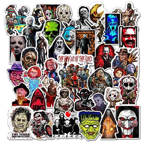 Kilmila Horror Stickers (50 pcs). Halloween Themed Terror Horror Movie Sticker Horror Gifts Toys for Kids Teens Car Window Laptop Phone Luggage Skateboard Graffiti
