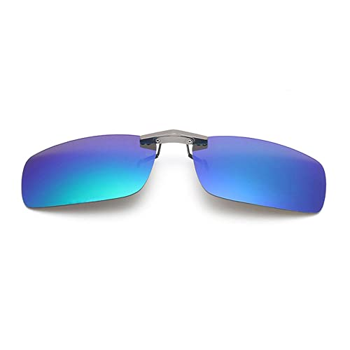 9fe5142e4f3 Tacloft Unisex Rectangle 57mm Polarized Clip on Sunglasses CLIPON2015 Blue