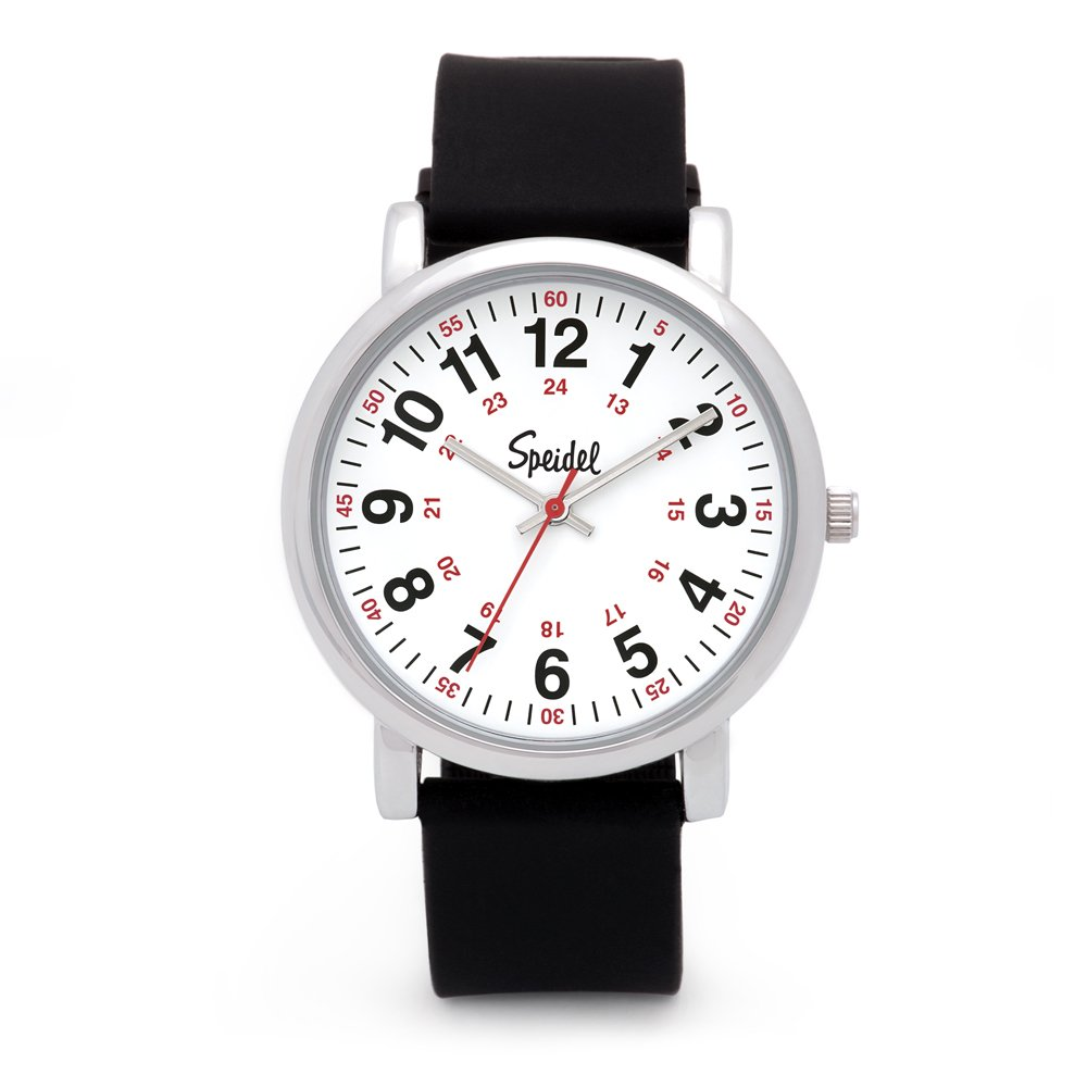 Speidel Scrub Watch for Medical Professionals with Black Silicone Rubber Band - Easy to Read Timepiece with Red Second Hand, Military Time for Nurses, Doctors, Surgeons, EMT Workers, Students and More by Speidel