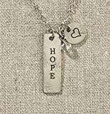 Set of 4 Grateful Heart- Silver Bar with Hope Necklace on Silver Chain