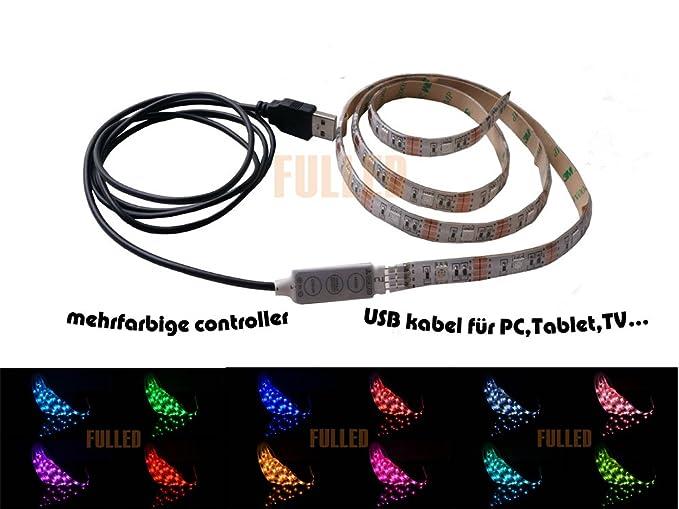 50cm LED RGB Strip Mehrfarbig wasserdicht+ MINI Controller + USB 2.0 ...