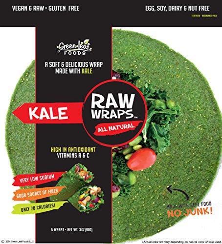 Raw Wraps Kale- Gluten Free, Soy Free, Wheat Free, Vegan, Paleo (Quinoa Seeds