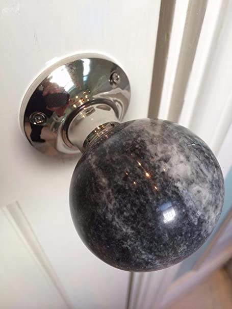 Bon Stunning Pair Of Large MARBLE Contemporary / Retro Round Dark GREY In  Colour Mortice Door Knobs