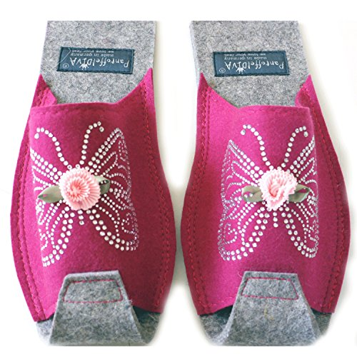 Flower Crystal Slippers 42 Design and pleated by Butterfly Pantoffeldiva Butterfly Size Raspberry 38 Merinofilz unisex with wzdPdqOEg