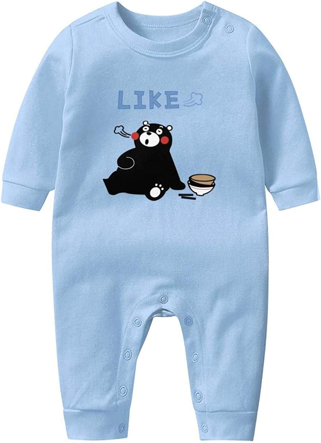 GFJHBVNBVC Kumamon Flower Cute Bear Popular Newborn Crawling Suit Lone-Sleeved Romper Bodysuit