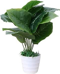 Vosarea 45cm Artificial Bonsai 12 Leaves Faux Plant Plastic Plant with Pots for Home Office Window Table Decorations