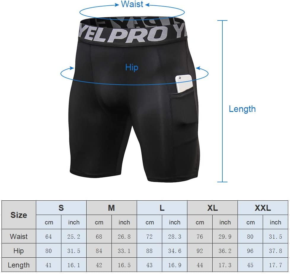 Lixada 3 pcs Hommes Compression Shorts Active Workout sous-V/êtements avec Poche Shorts Actifs pour Hommes pour la Formation de Cyclisme Baseball Basket-Ball Patinage