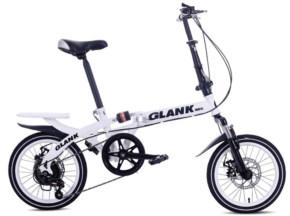Bicicleta Plegable Adulto 16in Aluminio Bicicleta Unisex Folding Bike,White