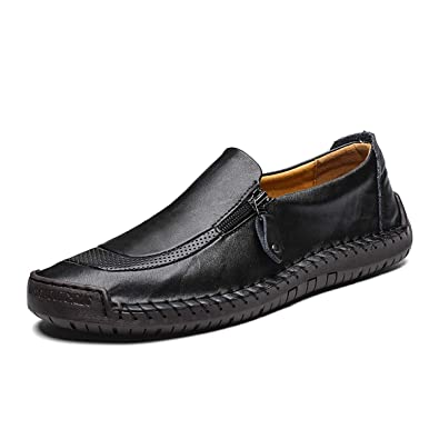 dd437f278b5 Mens Leather Slip On Shoes Hand Stitching Zipper Non-Slip Casual Shoes  Penny Loafer Boat