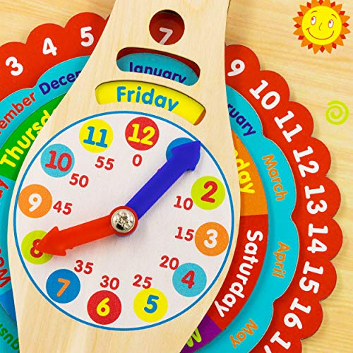 Alatoys Activity Board with Clocks, Calendar, Weather Montessori Wooden Educational Toy Board Montessori Busy Board for Toddlers Educational Basic Motor Skills Sensory Toys to Learning