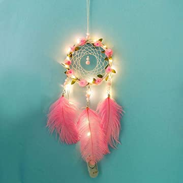 Ladiy Creative Multicolor Beads Handmade Floral Dream Catcher with Lights Decor Gifts Dream Catchers