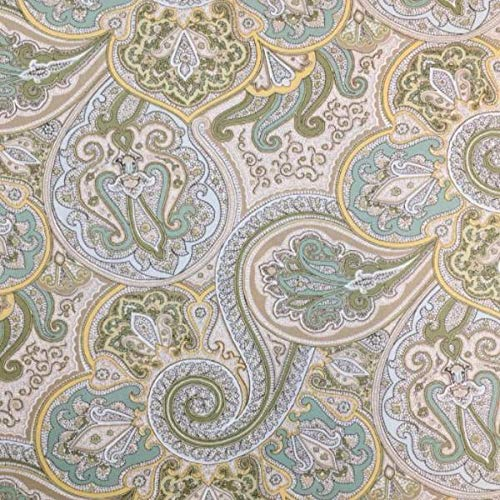 Green and Teal Paisley Cotton Twill Fabric by The -