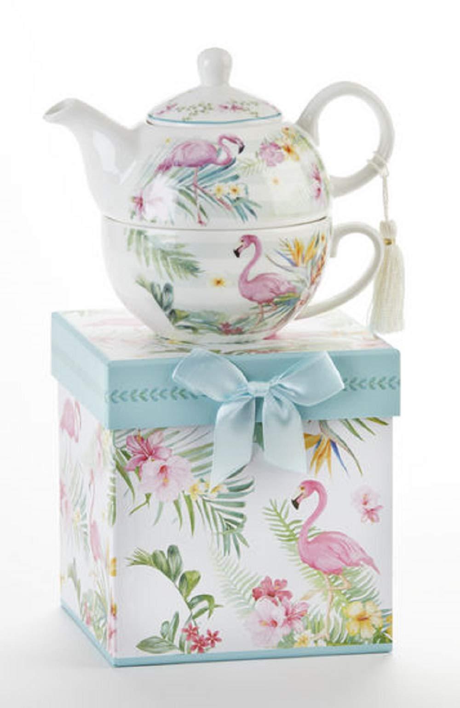 Delton Porcelain Pink Flamingo Tea For One