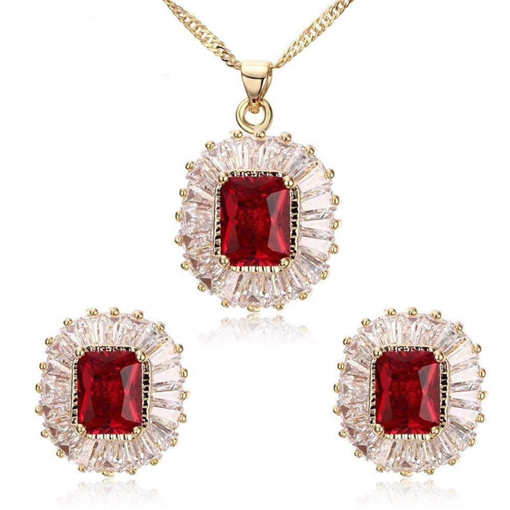 Ludage Earrings, Bronze Earrings Inlaid Zircon Earrings Necklace Set Allergy Graduation Gift Send Friend 19mm18mm