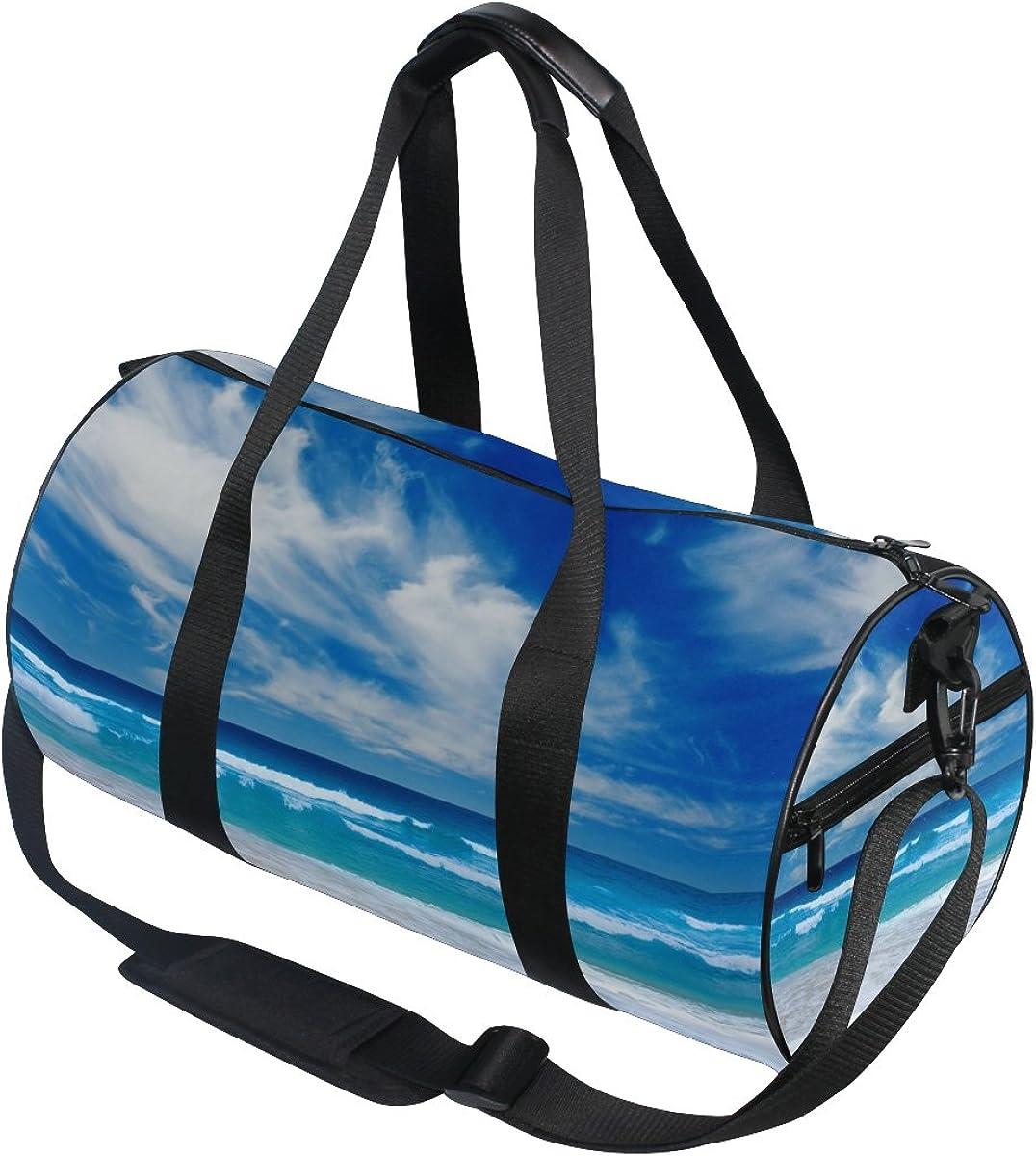 AHOMY Canvas Sports Gym Bag Beach Seawave Sunshine Blue Sky Travel Shoulder Bag