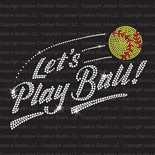 Let's Play Softball! Iron On Rhinestone Crystals and Rhinestuds T-Shirt Transfer by JCS - Crystal 1978 Glass