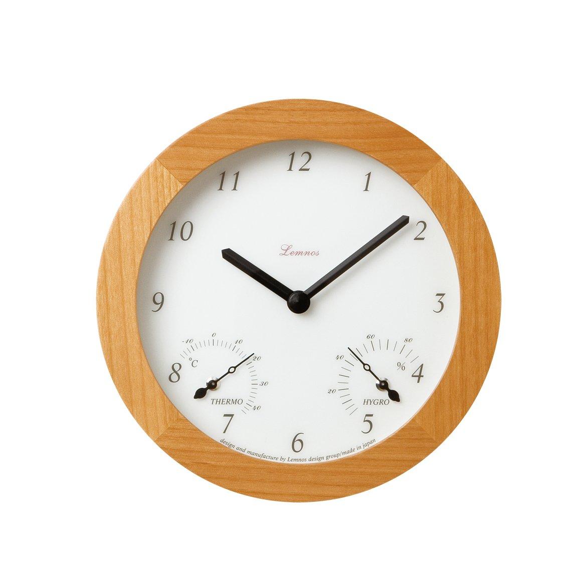 Lemnos Mignon 温室度計付時計 ナチュラル PC07-08 NT B000RLWBUOナチュラル