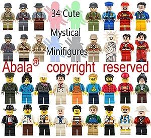 Abala Minifigures Building Bricks Men/Women Family Fun Favor Set, Compatible Figures Variety Community People Interchangeable Hats Bodies Legs Assemble Building Party Toys Kit (V2.0)