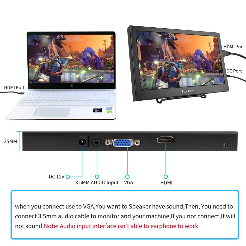 11,6 Zoll 1920x1080 Prechen Schwarz Unterst/ützung 1080p Einbau in Lautsprecher Tragbarer Monitor HDMI f/ür PS3 PS4 WiiU Xbox360 Raspberry Pi 3 2 1 Windows 7 8 10 System Home Office