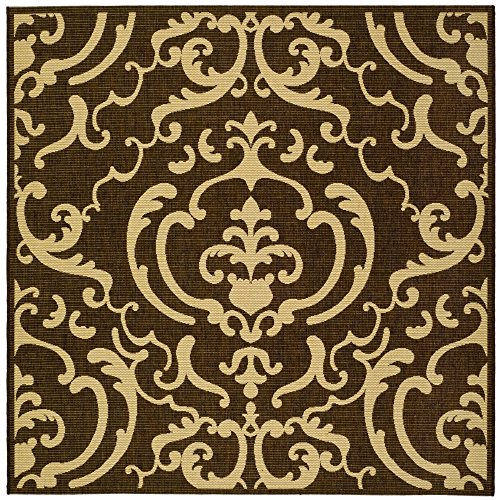 Safavieh Courtyard Collection CY2663-3409 Chocolate and Natural Indoor/Outdoor Square Area Rug (6'7