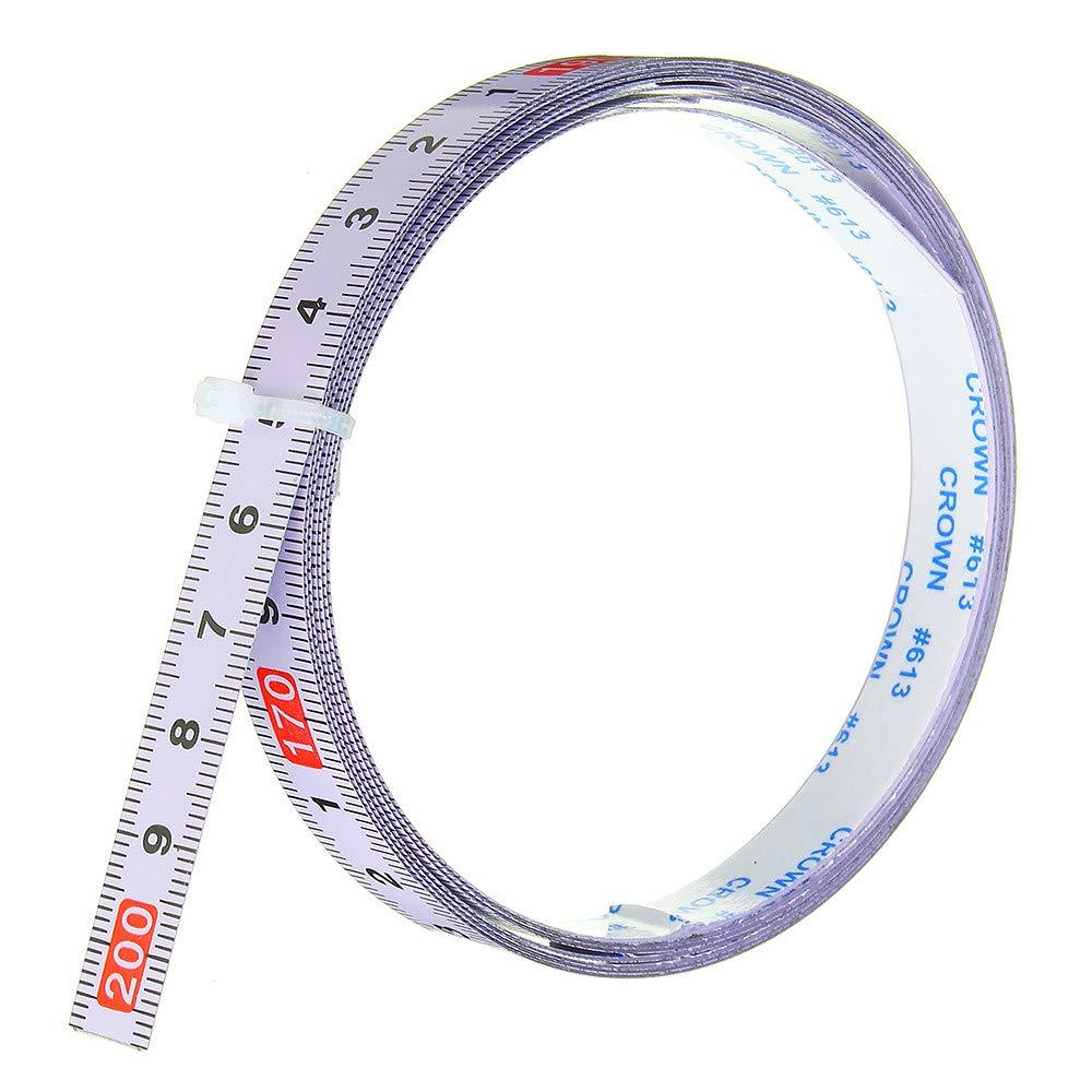 Trituratore autoadesivo metrico righello Trituratore traccia nastro misura troncatrice acciaio sega scala per T-track Router Tavolo banda visto strumento di lavorazione del legno 1M-0-1M