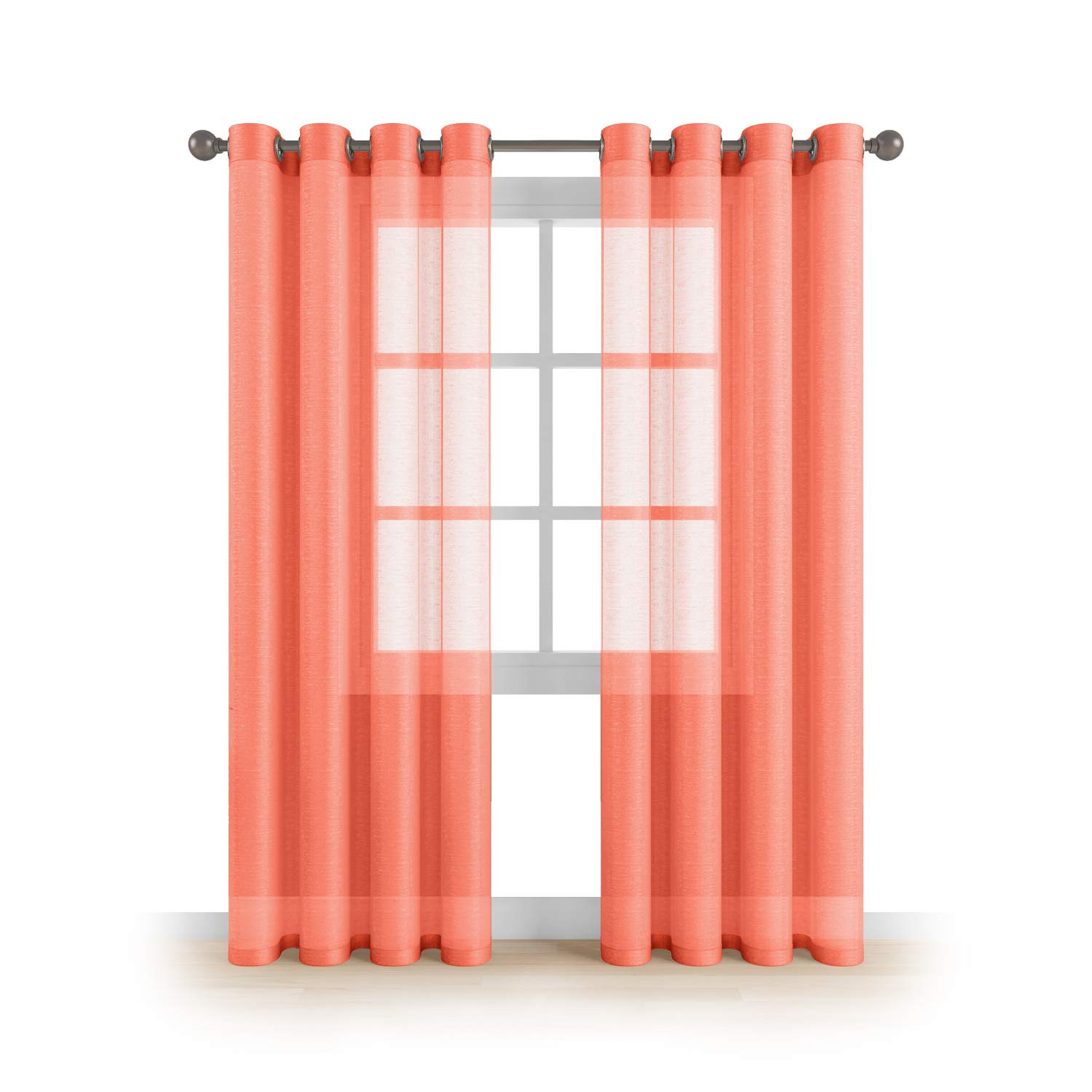 """MEMIAS Grommet Semi Sheer Luxury 2 Panels Total Wide 108"""" (Each Curtain 54""""Wx95""""L) Window Home Decor and Upscale Design Light Penetrating & Privacy Soft Durable Polyester Easy Upkeep (Coral-Orange)"""