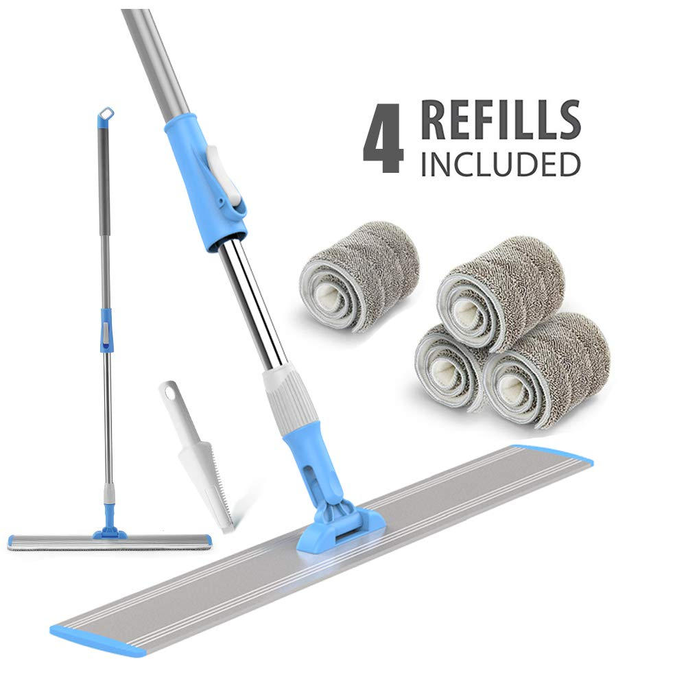 Wet Mop 24 Microfiber Mop Heavy Duty Floor Mop Aluminum Mop Adjustable Stainless Steel Handle 4 Wet and Dry Clothes Floor Cleaning System