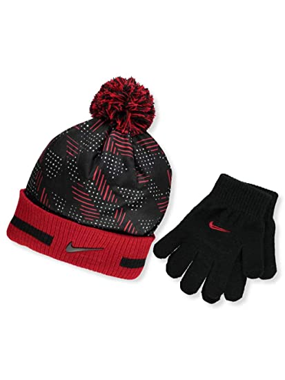 bd432e3a443 Amazon.com  Nike Knit Beanie   Gloves Set (Big Boys  One Size 8 20 ...