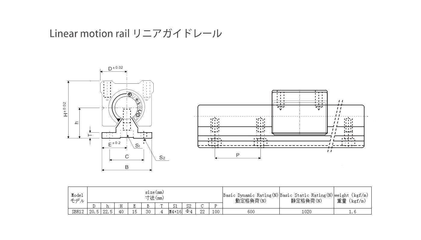 200mm 7.87inch Fully Supported Linear Guide+2pcs SBR12UU Block Bearing. TEN-HIGH Linear Rail CNC parts SBR12 12mm