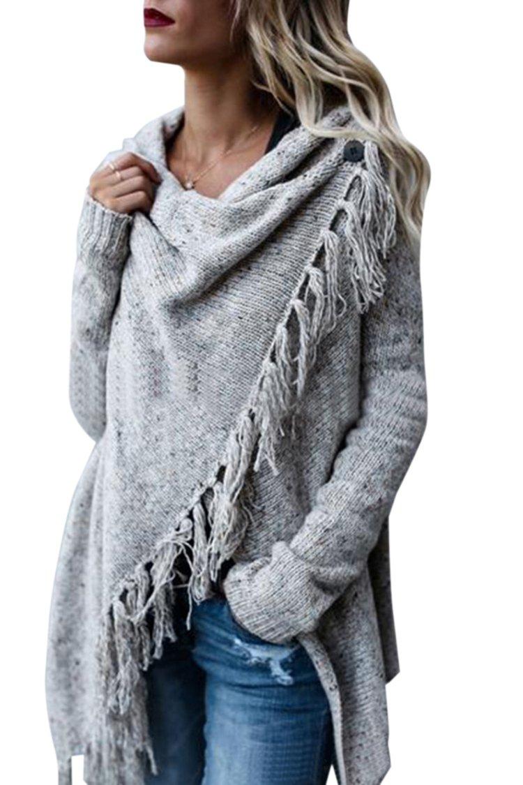 Wowfashions Women's Striped Tassel Fringe Long Sleeve Pullover Sweater Open Front Knit Cardigan Light Grey XL
