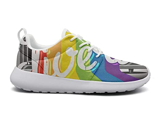 bd3efceb5542d Amazon.com: hken gay pride LGBT rainbow flag running shoes men ...