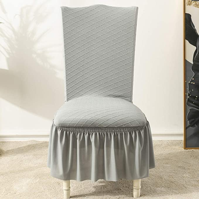 Baiancy Dining Chair Covers Ruffled Skirt Washable Elastic Printed Dining Chair Protector Slipcover for Hotel Dining Room Kitchen Banquet Wedding Party