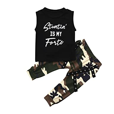 755e07e806dc0 Lavany Baby Outfits Toddler Boy Letter Tops+Camo Pants Clothes Set For 0-24