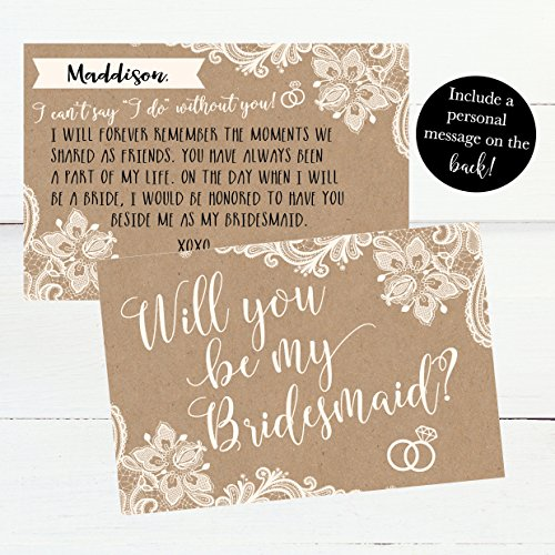 15 Will You Be My Bridesmaid Cards Kraft Lace, I Can't Say I Do Without You, Rustic Bridesmaids Proposal Note For Gifts, Blank Ask To Be Your Bridesmaids Invitations Set, Asking A Bridesmaid Invite Photo #6