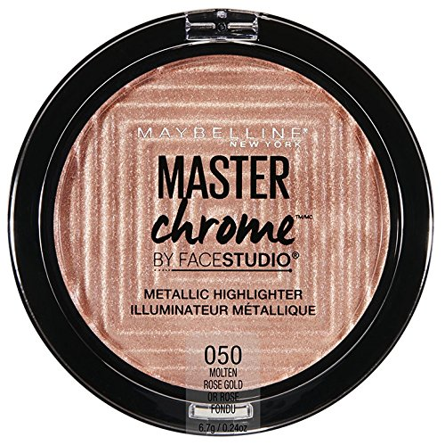 Maybelline Makeup Master Chrome Metallic Face Highlighter, Molten Rose Gold Bronzing Powder, 0.24 oz (Rose Chrome)