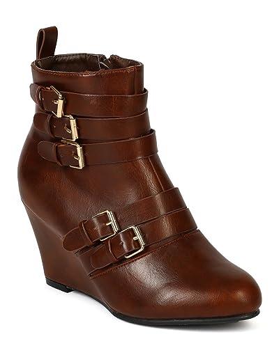 BD53 Women Leatherette Almond Toe Strap Buckles Ankle Wedge Bootie - Cognac