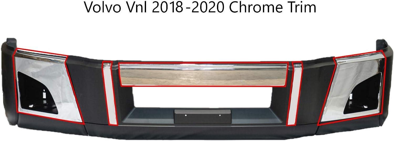 VOLVO VNL semi truck Chrome Trim Set Bumper Corners Chrome Trim with Fog Light Holes Left and Right Center Bumper Chrome trim Pair for Volvo VNL 2018+