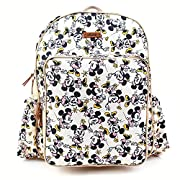 Disney Mickey Minnie Smile Diaper Backpack with Baby Stroller Straps Zipper Slots Pockets for Women & Men (Ivory)