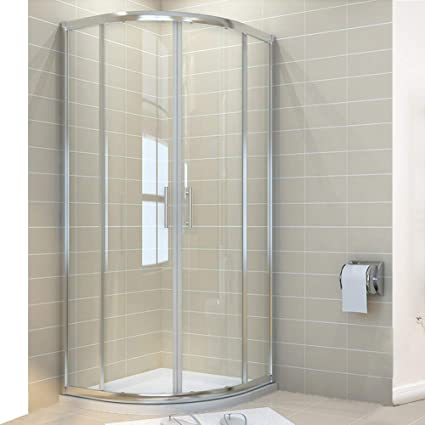 ELEGANT 900 X Mm Quadrant Shower Cubicle Enclosure 6mm Glass Sliding Door With Tray Waste Amazoncouk Kitchen Home