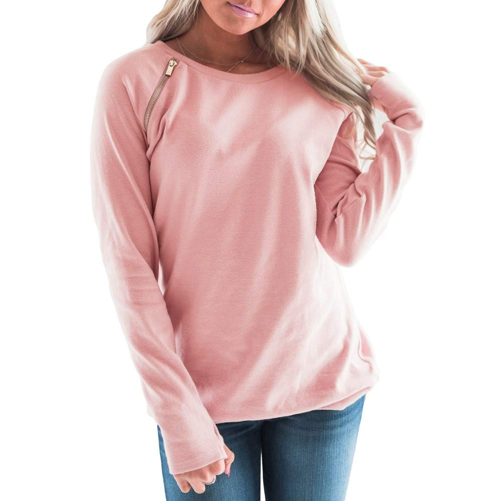 Farjing Women Blouse Fashion Solid O-Neck Long Sleeve with Zip Detail T-Shirt Blouse(S,Pink