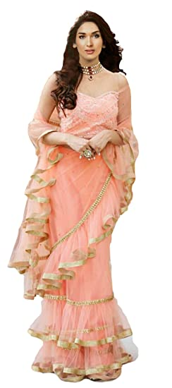 8178c1cd4d Clickedia Women's Net Ruffle Saree With Lace Border and Embroidery  Unstitched Blouse Piece (Coral Peach