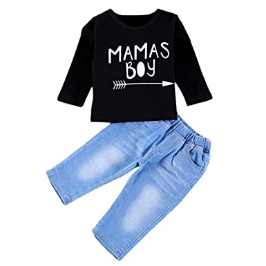 44282885b Zerototens Children Clothing Set,0-4 Years Old Newborn Infant Baby Girls Boys  Black Letter Print Long Sleeve T-Shirt Tops+Denim Pants Kids Casual Outfits  ...