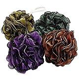 JCMASTER Loofah Shower Scrunchie Large for Men Women, 75g Each Mesh Pouf Poofs Puff Bath Lufa Loufa Luffa Scrubber Sponges for Exfoliating Your Skin, 4 Colors Pack