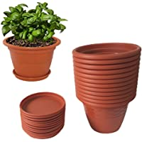 Meded Siti Plast 10 Inch Heavy Duty Plastic Planter Pots With Bottom Tray (Pack Of 12) Color - Terracotta