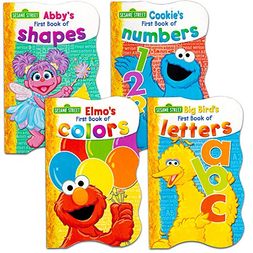 Sesame Street First Books Series; BIG Bird's Letters, Abby's Shapes, Elmo's Colors, Cookie's Numbers [Board Book Hardcovers, 4 Books] ()