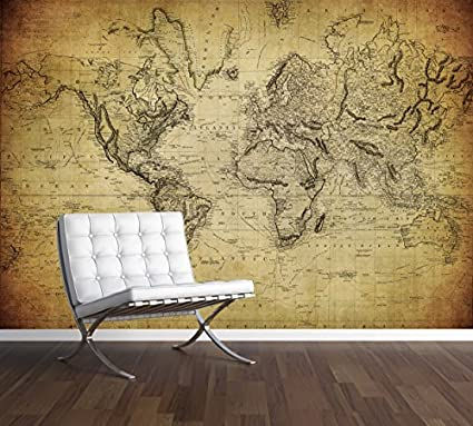 Vintage World Map Wall Mural Photo Wallpaper Antique Old Style Xx