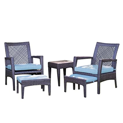 Peachy Auro Brisbane Outdoor Furniture 5 Piece Lounge Chair Ottoman All Weather Brown Wicker Conversation Set Chat Seating With Blue Olefin Cushioned Pdpeps Interior Chair Design Pdpepsorg