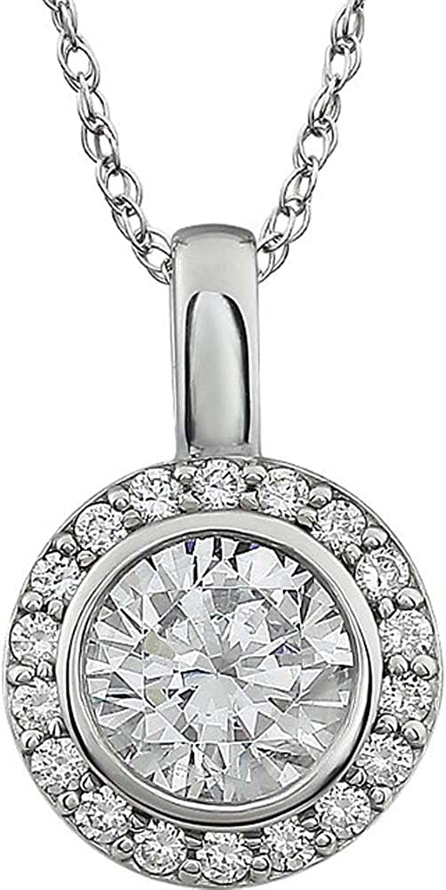 Sterling Silver Cubic Zirconia 18-Inch Necklace