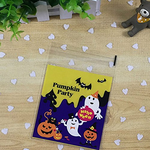 Smartcoco 100pcs Spooky Pumpkin Halloween Trick or Treat Plastic Candy Bags for Party Favors, Snacks, Decoration, Children Arts & Crafts, Event Supplies (Halloween Treat Bags Walmart)